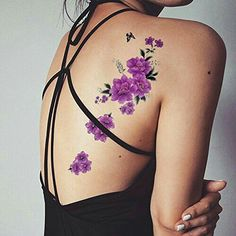 TAFLY Butterfly Purple Floral Body Art Waterproof Flower Temporary Tattoo Transfer Sticker 5 Sheets * More info could be found at the image url. (This is an affiliate link) Pretty Tattoos, Sexy Tattoos, Cute Tattoos, Body Art Tattoos, Small Tattoos, Sleeve Tattoos, Arm Tattoo, Tatoos, Purple Flower Tattoos