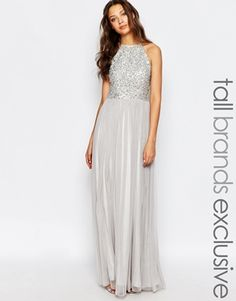 Maya Tall High Neck Sequin Tulle Maxi Dress