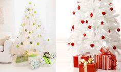 Decorar un árbol de Navidad blanco