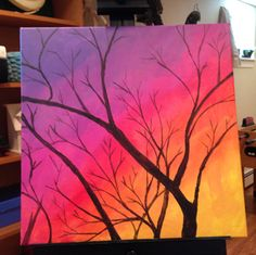 Acrylic art ideas canvas for beginners fresh of painting videos abstr Sunset Painting Easy, Acrylic Painting Trees, Night Sky Painting, Simple Oil Painting, Sunrise Painting, Acrilic Paintings, Cute Canvas Paintings, Easy Canvas Painting, Mini Canvas Art