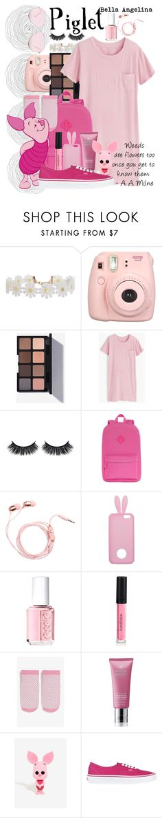 """""""Piglet // Winnie The Pooh"""" by bellaangelina ❤ liked on Polyvore featuring Humble Chic, Fujifilm, J.Crew, Battington, City Streets, Miss Selfridge, Essie, Monki, Molton Brown and Funko"""
