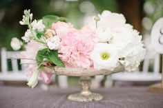 pretty pink + white compote centerpiece | Harwell Photography #wedding