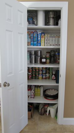 Instructions of how to remove wire shelving and install wooden shelving with molding for a neat and organized pantry.