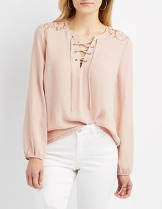 Lace-Trim Lace-Up Blouse | Charlotte Russe