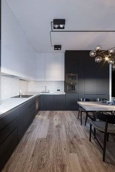 Black and white kitchen: 60 enthusiastic decoration models - hallway ideas - Kitchen Decor Modern Kitchen Design, Interior Design Kitchen, Kitchen Designs, Luxury Kitchens, Cool Kitchens, Kitchen Themes, Kitchen Decor, Kitchen Ideas, New Kitchen