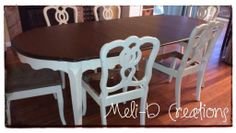 French Provincial Dining Table painted in Annie Sloan Old White. Top stained in General Finishes Java Gel