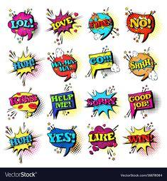 Comic speech chat bubble set pop art style sound vector image on VectorStock Comic Text, Text Icons, Pop Art Girl, Icon Collection, Comic Book, Vector Free, Bubbles, Parties, Clip Art