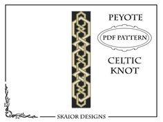 Beading Pattern Celtic Knot Bracelet Cuff PDF Seed Bead Peyote Pattern Tribal Folk Geometric Black White Gold Belt Bookmark on Etsy, $5.00