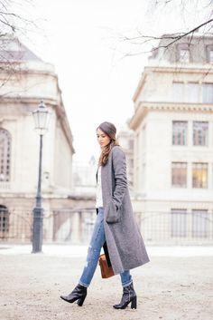 White sweater and gray coat. Via Soraya Bakhtiar.  Long gray coat outfit, winter coat outfit, white sweater outfit, cold weather outfit, winter outfit, stylish warm outfit.