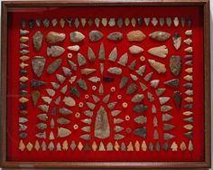 Native American. Large Arrowhead Display. : Lot 746
