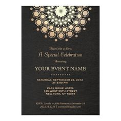 elegant gold circle sphere black formal invitation design