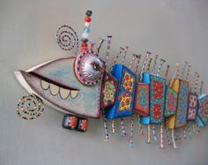 Fish Bones MADE to ORDER Original Found Object door FigJamStudio