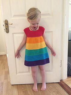 Rainbow Dress - Free Pattern (Beautiful Skills - Crochet Knitting Quilting) - - Rainbow Dress – Free Pattern (Beautiful Skills – Crochet Knitting Quilting) – for beginners blanket easy Crochet Toddler Dress, Crochet Girls, Crochet Baby Clothes, Crochet For Kids, Crochet Dress Girl, Crochet Dresses, Crochet Children, Crochet Summer, Crochet Baby Dress Pattern