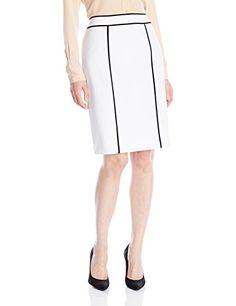 Calvin Klein Womens Contrast Piping Skirt WhiteBlack 12 *** Want to know more, click on the image.