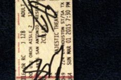 My 2Cellos ticket for 3rd concert March 1, 2015 in the Majestic Theater in San Antonio, Texas.