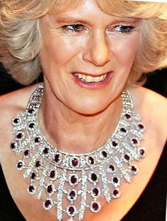 Beautiful: Camilla first wore this ruby and diamond necklace in public in 2007...