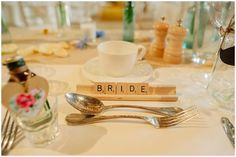 Wooden scrabble tile place name setting - Pastel Wedding With Shabby Chic Styling At Gaynes Park With Bride In Lace Fishtail Sarah Janks Gown With Groom In Powder Blue Bowtie From Mrs Bowtie And Images By Kerrie Mitchell