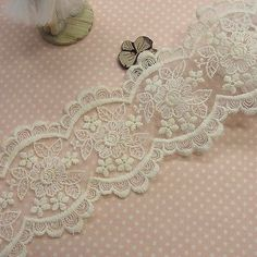 1yd-Vintage-Style-Embroidery-Double-Edged-Fabric-Tulle-Lace-Trim-Floral-8-5cm-WD