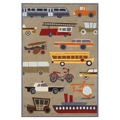 Rug with transportation motif.  Product: RugConstruction Material: AcrylicColor: ConcreteNote: Please be aware that actual colors may vary from those shown on your screen. Accent rugs may also not show the entire pattern that the corresponding area rugs have.