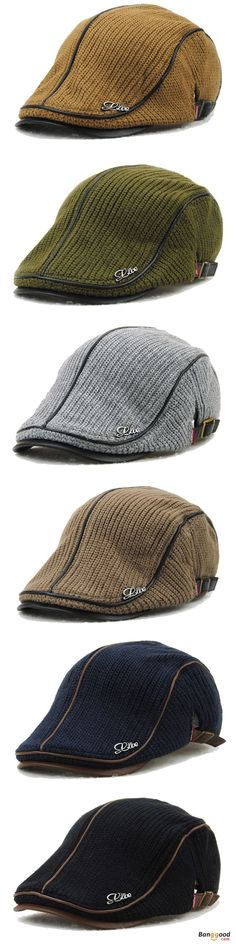 7301aac5 Men Women Knitting Beret Caps Newsboy Buckle Adjustable Casual Outdoors Peaked  Hat is hot sale on Newchic.