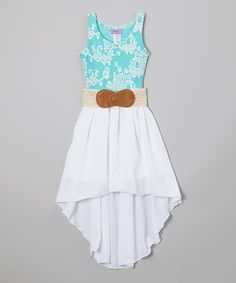 Love this Blue & White Floral Belted Hi-Low Dress - Girls by Maya Fashion on #zulily! #zulilyfinds
