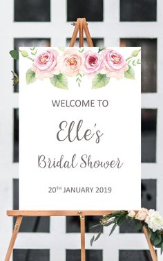 Pink bridal shower welcome sign printable, bridal shower ideas, floral bridal shower decorations, bridal shower decor, bridal shower sign from Pink Summer Designs on Etsy
