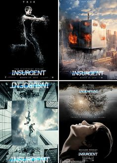 Insurgent Posters: I loved Insurgent, the book was great. I don't know how I feel about the movie though. Number one thing that bugs me is that Tris's hair is way too short! I've seen the trailers too, and they look like they have NOTHING to do with the book. The first movie, Divergent, was pretty good. It stuck to the main concept of the book, but Insurgent on the other hand worries me.