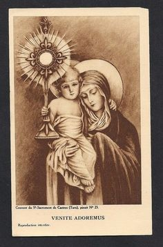 O Come Let Us Adore Him Antique Holy Card. Gorgeous Old holy card of the Christ Child being held up by His Mother SALE was 15 Now Catholic Art, Religious Art, Roman Catholic, Joseph, Vintage Holy Cards, Religion Catolica, Religious Pictures, Blessed Mother Mary, Les Religions