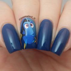 "Blue and Yellow Nails Inspired by ""Dory"" From Disney's Finding Nemo"