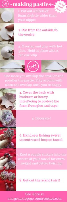 How to make pasties with tassels using craft foam and fishing tackle.