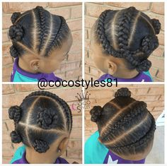 Cornrows and Braided Bantu Knots Hairstyle Bantu Knot Hairstyles, Lil Girl Hairstyles, Sporty Hairstyles, Natural Hairstyles For Kids, Kids Braided Hairstyles, African Braids Hairstyles, Natural Hair Styles, Toddler Hairstyles, Beautiful Hairstyles