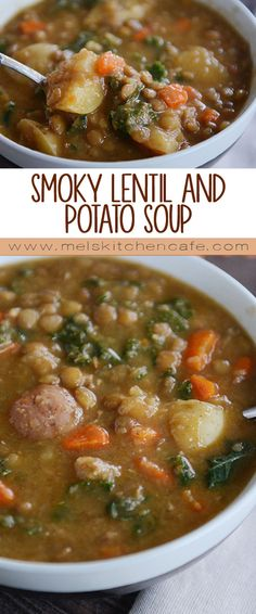 Smoky Lentil and Potato Soup {Pressure Cooker or Stovetop} Don't discount this humble pressure cooker lentil potato soup - packed with flavor (that smoked paprika!), it is amazingly delicious and super simple! Potato Soup Pressure Cooker, Pressure Cooker Lentils, Instant Pot Pressure Cooker, Vegan Soups, Vegetarian Recipes, Healthy Recipes, Best Lentil Recipes, Cheap Recipes, Lentil Potato Soup