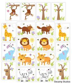 SAFARI ANIMAL DECALS Wall Art Kids Room Baby Boy Girl Nursery Stickers Decor - Elephant Tiger Giraffe Zebra Koala Fox Monkey Tree