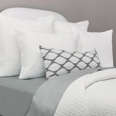 Crane & Canopy's Cloud Soft White Quilt and Sham set brings chic texture and style to your room. Available in 8 colors to match every room and every bed. Orange Bedding, Neutral Bedding, Chic Bedding, Luxury Bedding, Bedding Decor, Crystal Bedroom, Goose Down Pillows, Feather Pillows, Down Comforter