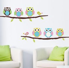 Animal cartoon owl DIY Vinyl Wall Stickers For Kids Rooms Home Decor Art Decals 3D Wallpaper decoration adesivo de parede