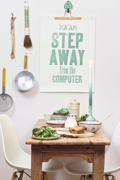 Ma'am step away from the computer (green) - Letterpress art poster / print