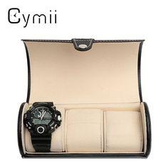 Black 3 Slot Cylindrical Watch Travel Case Leather Roll Jewelry Watch Storage Holder Watchbox Case Collector Organizer 19x9cm