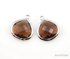 - Smoky Quartz Glass and Rhodium Framed Pendent  - High Polished Rhodium Plated Frame (Tarnish Resistant) and Teardrop shape frame - Smoky Quartz Color Glass - Brass and Glass / 15mm x 18mm - 2pcs / 1pack