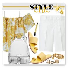 """Chic in Yellow and White"" by brendariley-1 ❤ liked on Polyvore featuring MANGO, Uniqlo, Kelsi Dagger Brooklyn, MICHAEL Michael Kors, Henri Bendel and shu uemura"