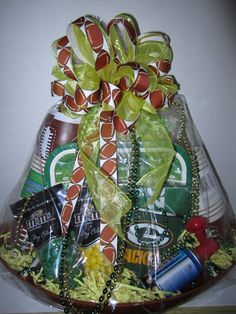 Love this Green Bay Packer Wisconsin Football Gift Basket! | oN ...