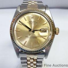 Vintage Pie Pan Rolex Datejust Cool Gold Steel Mens 1601Watch #Rolex #Sport