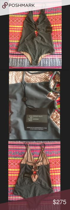 NWT Acacia Swimwear Kokomo Anthracit L NWT Acacia Swimwear Kokomo Anthracite L- it didn't fit me so onto the next lovely lady! I am just looking to get what I paid for it so the high list price is due to the fees posh takes out- open to 🅿️🅿️ as well for lower price acacia swimwear Swim One Pieces