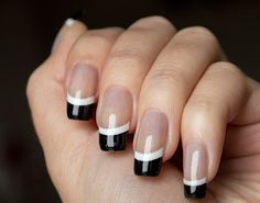 manicure francés blanco y negro