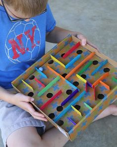 How to Make a Cardboard Box Marble Labyrinth Game - Frugal Fun For Boys Engineering STEM activity for kids - Build a cardboard box marble labyrinth! Get the marble through the course without it dropping into the holes. Kids Crafts, Diy And Crafts, Craft Projects, Arts And Crafts, Wood Crafts, Recycled Crafts For Kids, Recycling Projects For Kids, Fabric Crafts, Games For Kids