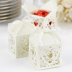 Ivory Lace Wedding Favour Boxes - Pink Frosting Wedding Bomboniere