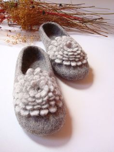 Beautiful and functional..custom made, cozy, wool slippers from ETSY artist Grazim for $65.