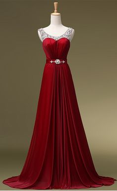 Red Beaded A Line Celebrity Prom Dress Fashion Dance Dresses pst0120
