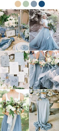 Dusty Blue wedding color schemes Earth tones wedding mix and match blue