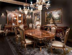 Sala da pranzo stile veneziano - Sala da pranzo con pareti scure
