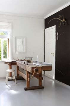 Glorious old work bench sitting so well in its modern surroundings. Old and new = perfect partnership Decor, Furniture, Interior Design Color, Interior, Rooms Home Decor, Interior Furniture, Home Decor, Interior Design, Rustic Interiors